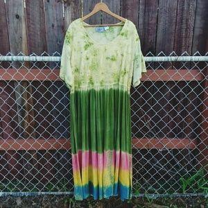 Tie Dye Hippie Green Maxi Dress 3XL By Select